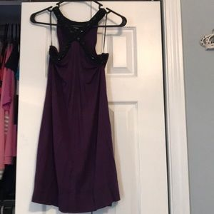 Purple dress with black studded collar